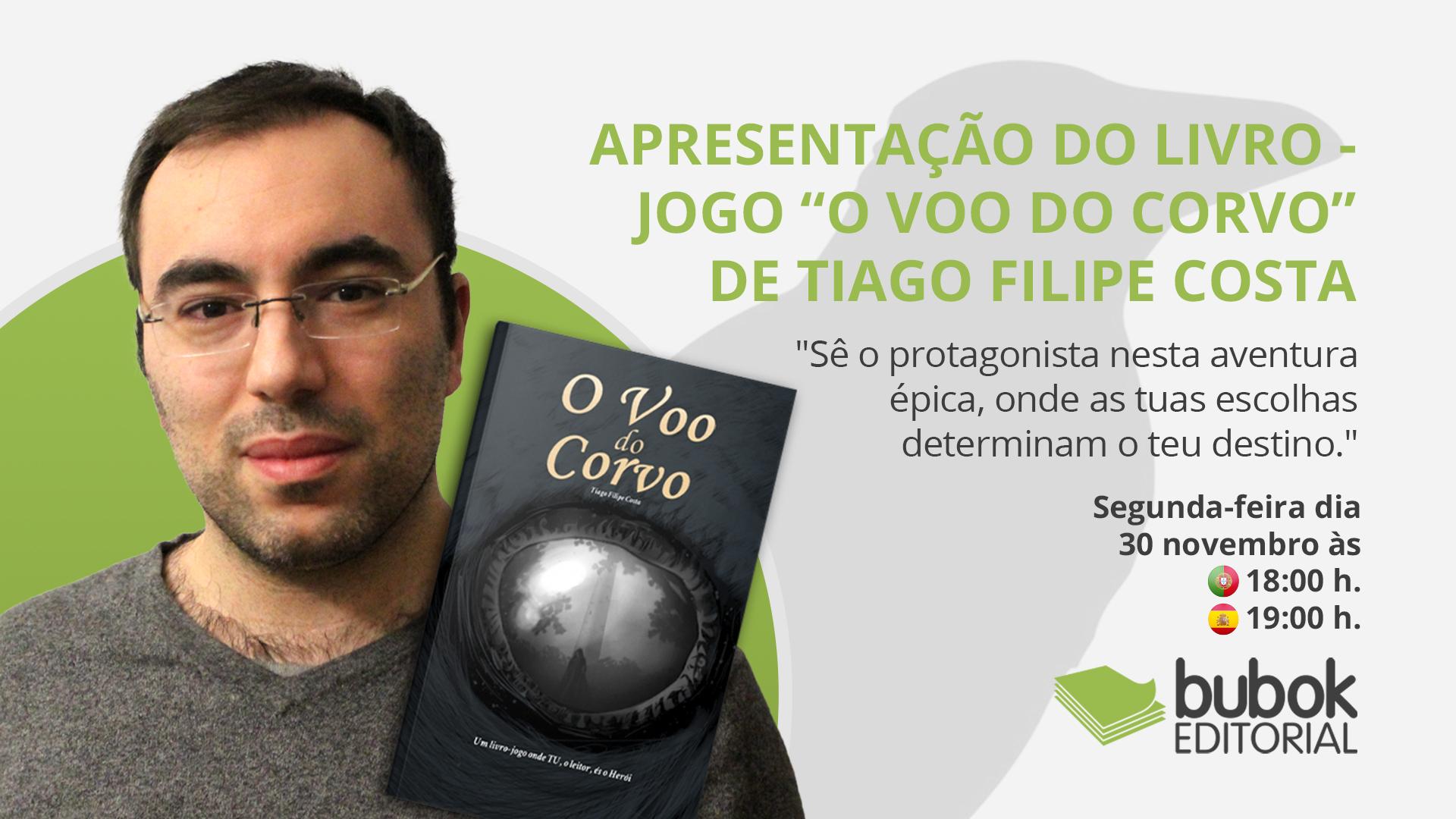 """presentação do livro - Jogo """"O voo do corvo"""" de Tiago Filipe Costa"""