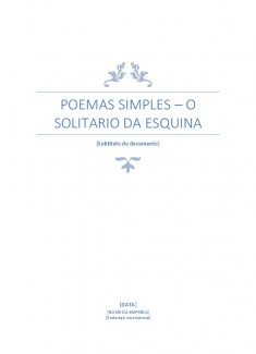 Poemas simpes: Solitario da esquina