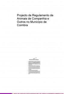 Projecto de Regulamento de Animais de Companhia e Outros no Município de Coimbra